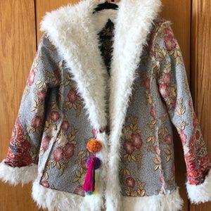 Johnny Was Floral Faux Fur Jacket
